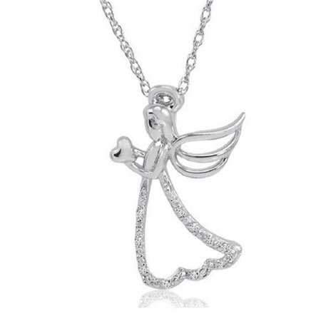 Amanda Rose Collection Sterling Silver Diamond Angel with Heart Pendant - - Ananda Collection