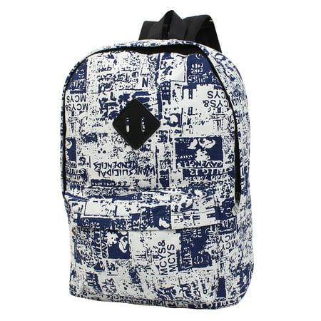 Unique Bargains Unisex Graffiti Print Canvas Backpack School Bag Rucksack