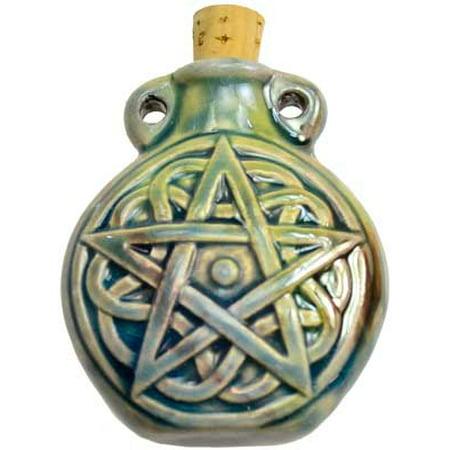 Men's Pendant Oil Bottle Pentagram Raku Cork Cap Clay Glazed Bottle Style (Raku Glaze)