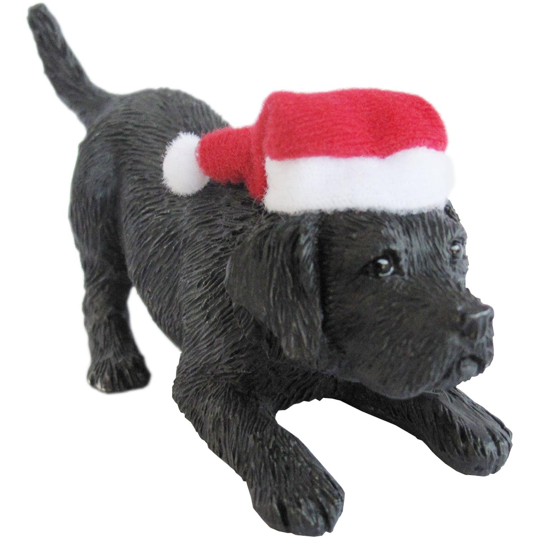 Sandicast Crouching Yellow Labrador Retriever with Santa's Hat Christmas Ornament