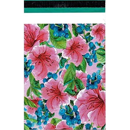 100 10x13 Pink Tropical Flowers ValueMailers Designer Poly Mailers Shipping Envelopes Bags 10