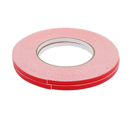 2pcs 6mmx1mm White Double Sided Self Adhesive Sponge Foam Tape for Car 10M Long Double Sided Self Adhesive
