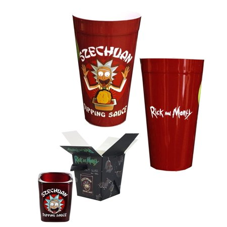 Rick and Morty Szechuan Dipping Sauce Shot Glass and Plastic Cup Bundle ()