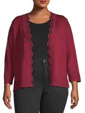 Heart & Crush Women's Plus Size Scallop Edge Placket Cardigan