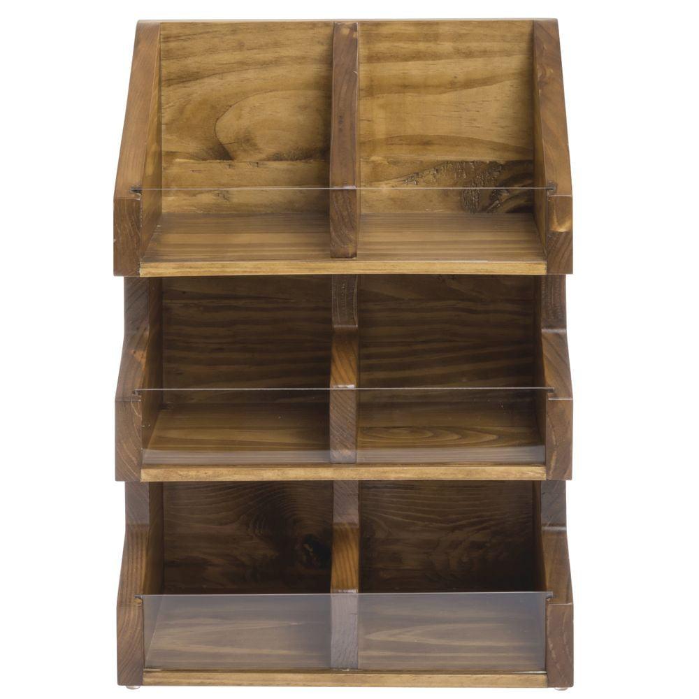 "Cal-Mil Madera Collection 6 Bin Wood Condiment Organizer -  11""L x 7""W x 16""H, 2054-99"