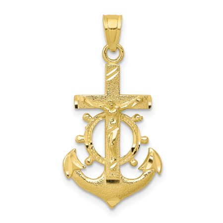 10k Yellow Gold Nautical Anchor Ship Wheel Mariners Crucifix Cross Religious Pendant Charm Necklace Mariner
