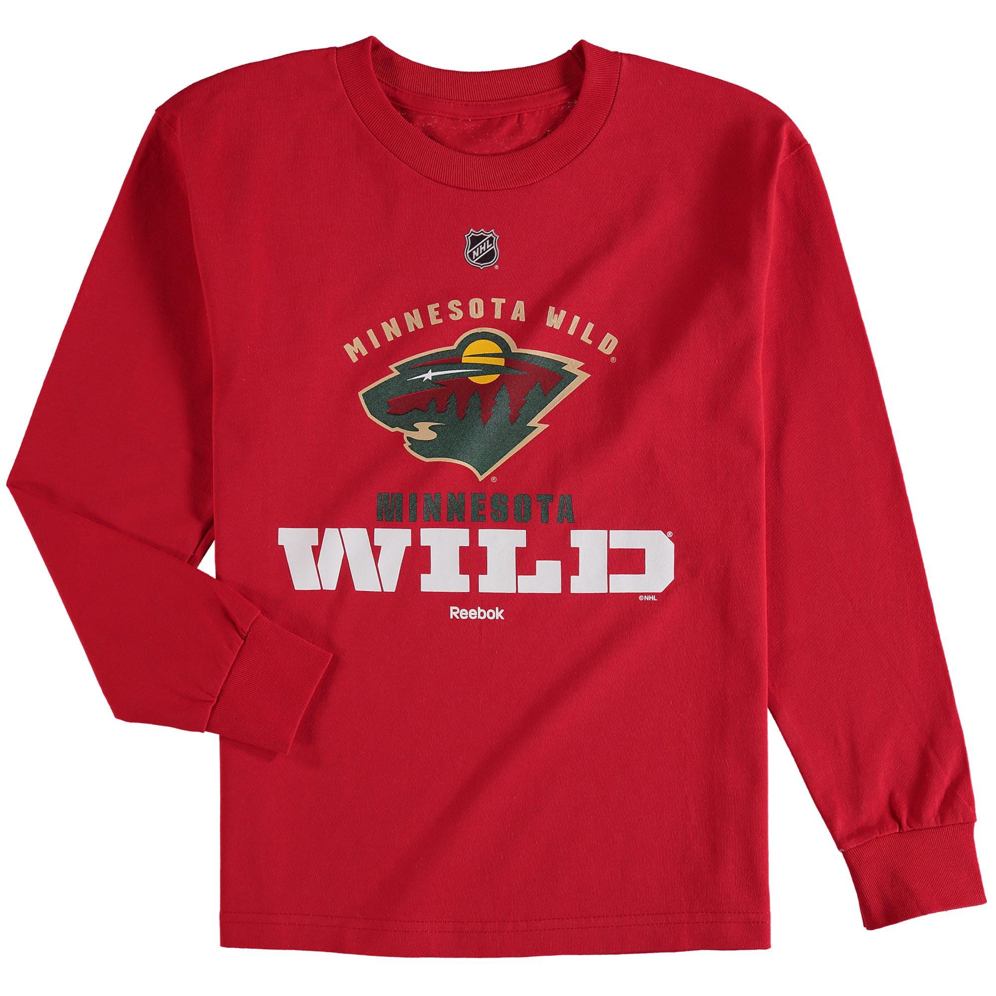 Minnesota Wild Reebok Youth Clean Cut Long Sleeve T-Shirt - Red