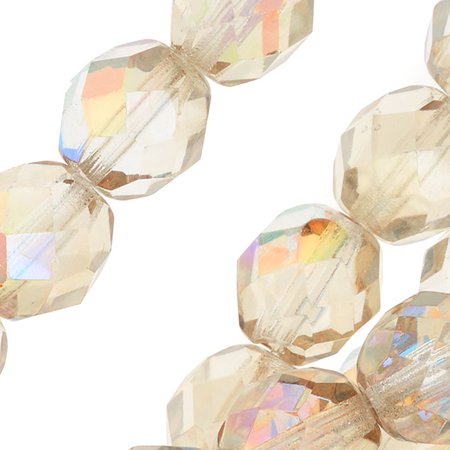 - Czech Fire Polished Glass, Faceted Round Beads 8mm, 20 Pieces, Crystal Lemon Rainbow