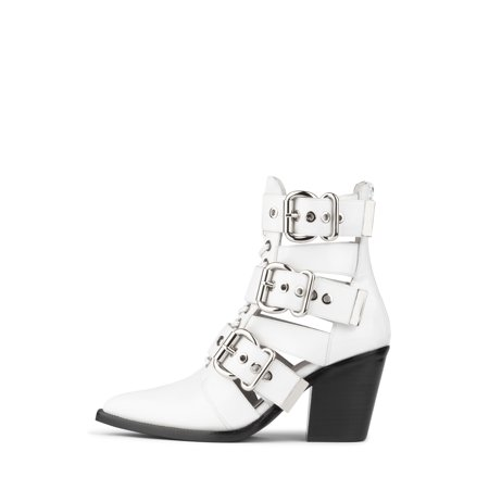 - Jeffrey Campbell Caceres White Box Heel Cut Out Pointy Toe Bucked Zipper Bootie