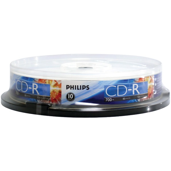 PHILIPS CR7D5NP10/17 700MB 80-Minute 52x CD-Rs (10-ct Cake Box Spindle)