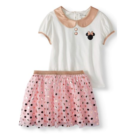 Minnie Mouse Outfit For Infants (Minnie Mouse Glitter Collar and Foil Tulle Tutu Skirt, 2-Piece Outfit Set (Little Girls & Big)