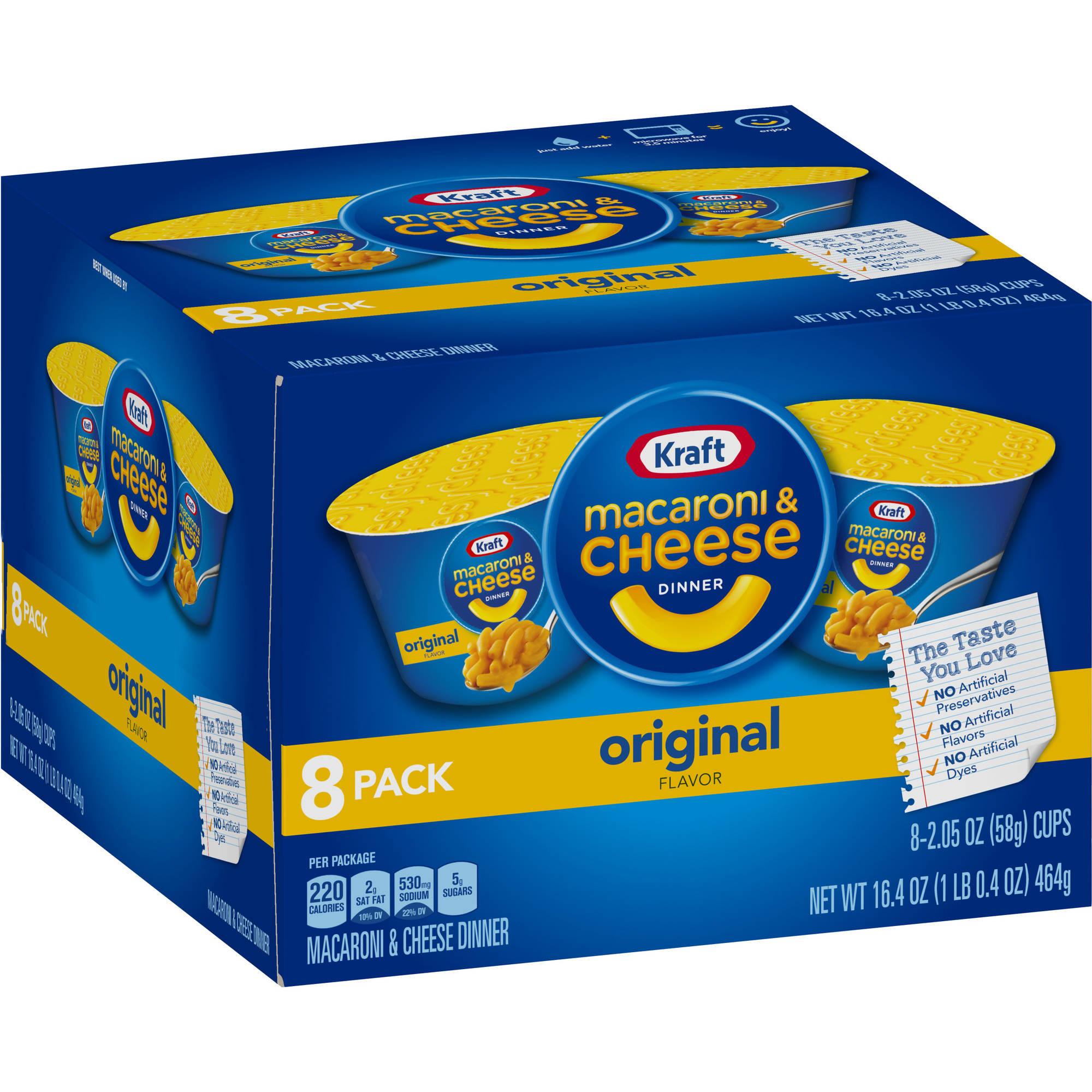 Kraft Original Flavor Macaroni & Cheese Dinner Single Serve Cups, 2.05 oz, 8 count