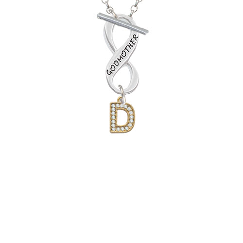 Gold Tone Small Crystal Initial - D - Godmother Infinity Toggle Chain Necklace
