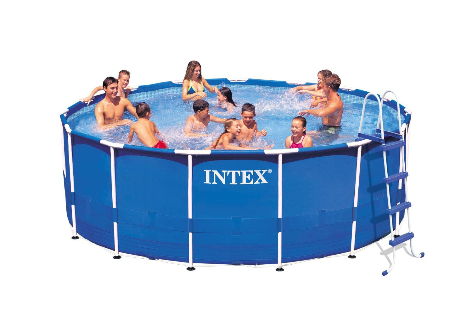 Intex 15 X 48 Metal Frame Above Ground Swimming Pool With Filter Pump Walmart Com Walmart Com