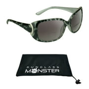 Women's Bifocal Reading Sunglasses Readers +1.50. Sexy Cheetah Black Frame with Nearly Invisible Magnification reader Line.