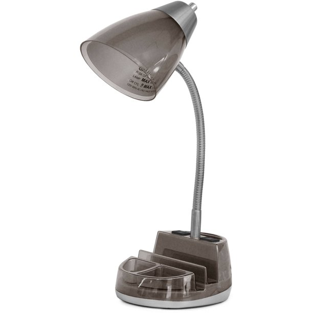 "Mainstays Organizer Black Desk Lamp- 19""H, Available in Multiple Colors"