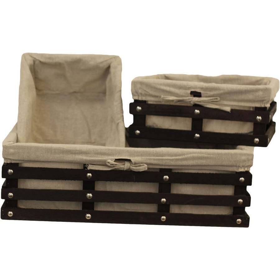 Wood Slat Sweater and Shelf Bins, Set of 3, Brown