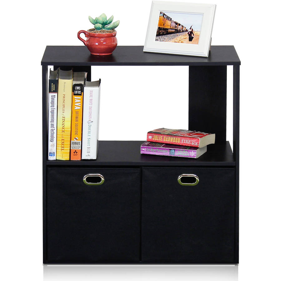 Furinno Simplistic 2-Tier Organizer with Bin Drawers, Espresso/Black
