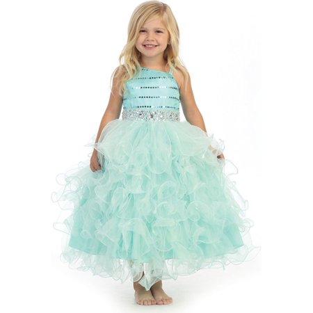 Angels Garment Little Girls Aqua Bead Full Ruffle Skirt Flower Girl Dress 3T - Aqua Girl