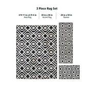 Mainstays Neutral Geometric Black 3 Piece Area Rug Set