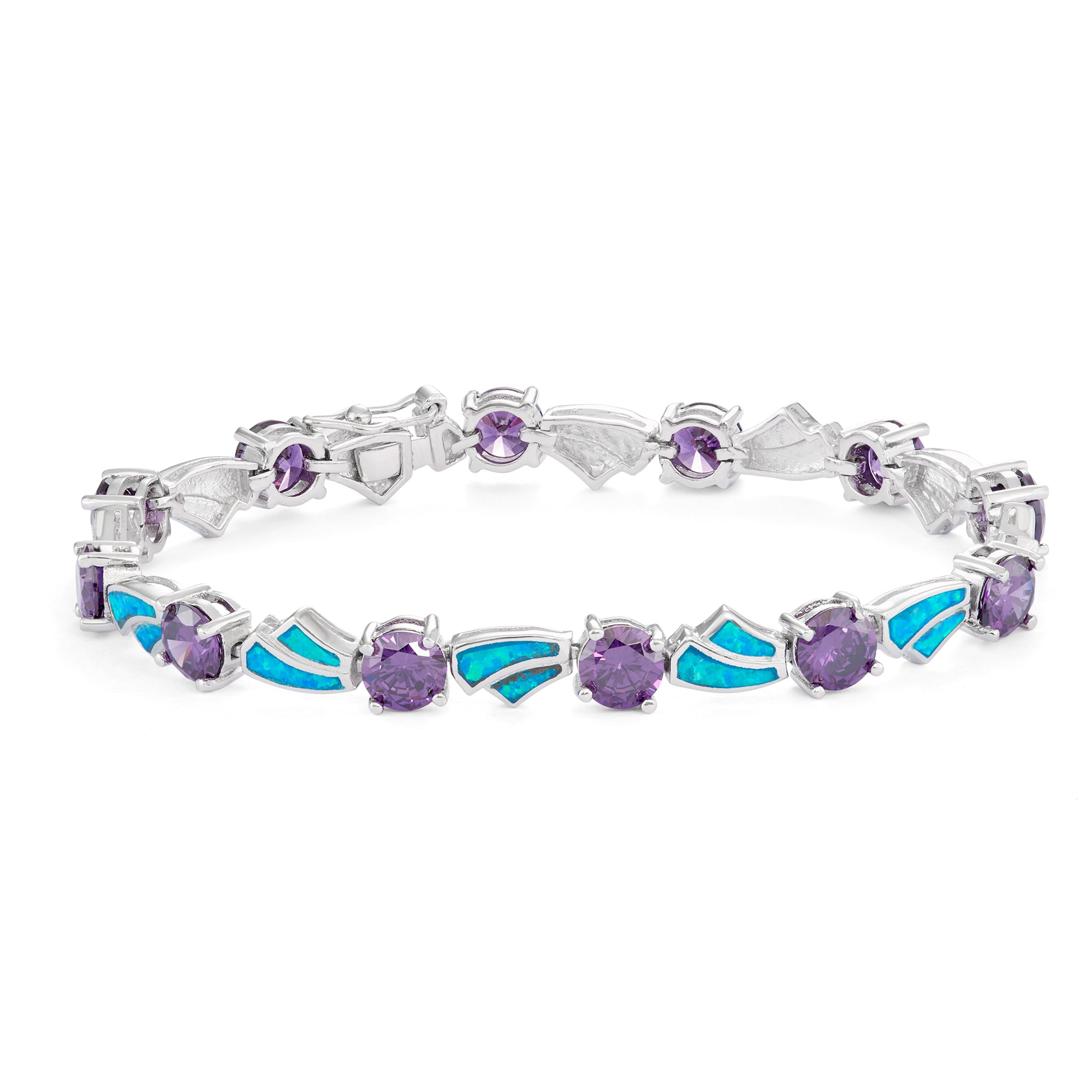 La Preciosa Sterling Silver Created Opal and Cubic Zirconia Link Bracelet Blue CZ by Overstock