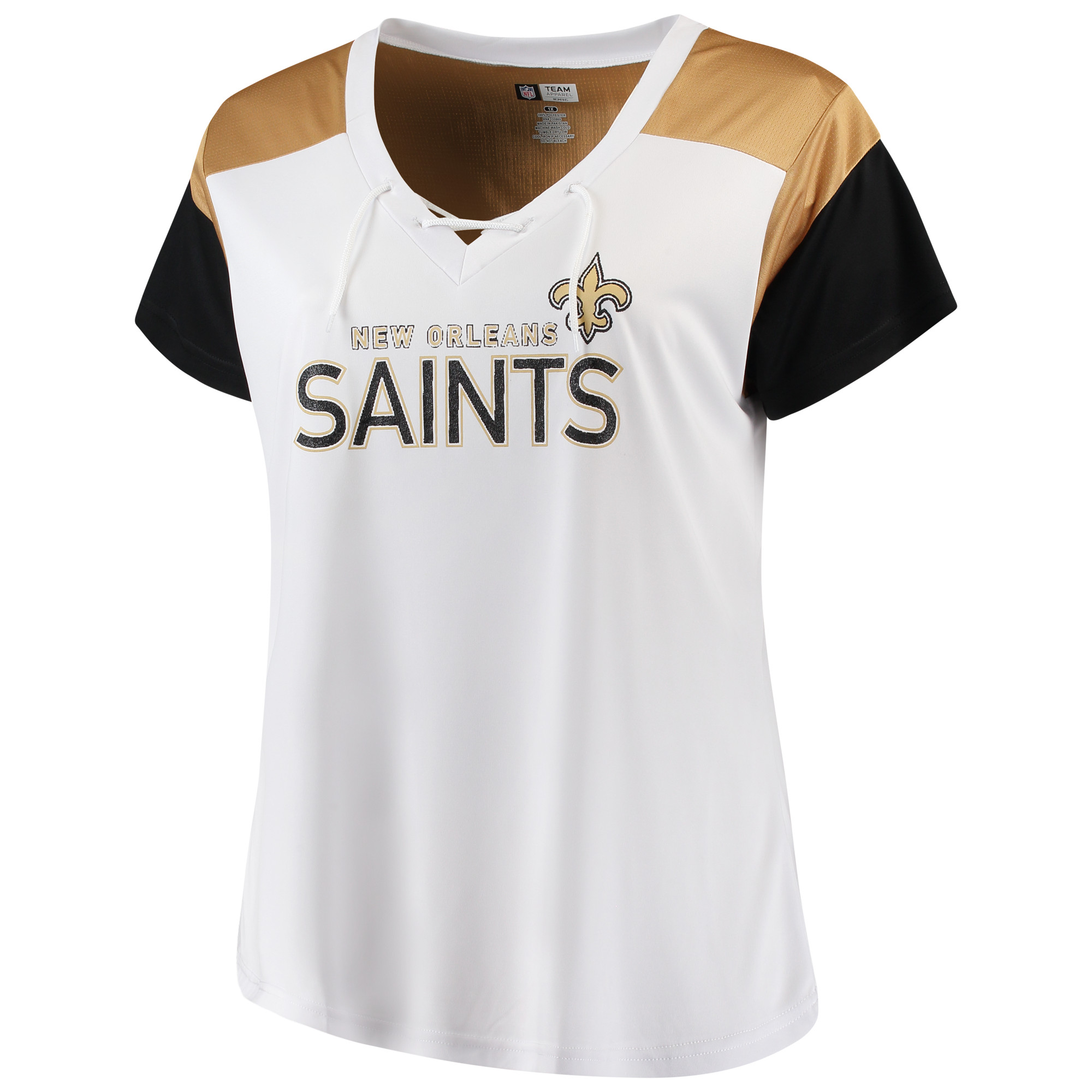 Women's Majestic White/Black New Orleans Saints Lace-Up V-Neck T-Shirt