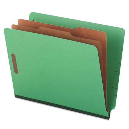 Universal Pressboard End Tab Folders, Letter, Six-Section, Green, 10/Box (Durable Green Pressboard Expansion Folders)