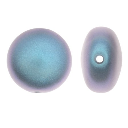 Swarovski Coin Set - Swarovski Crystal, #5860 Coin Faux Pearl Beads 12mm, 2 Pieces, Iridescent Light Blue