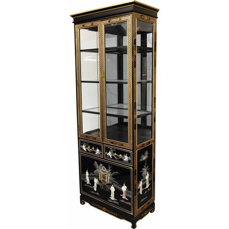 Oriental Tall Lacquer Curio Cabinet Black Mother Pearl Ladies