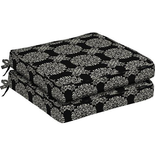 Better Homes and Gardens Dining Seat Outdoor Cushion, Set of 2, Black Tulip Medallion