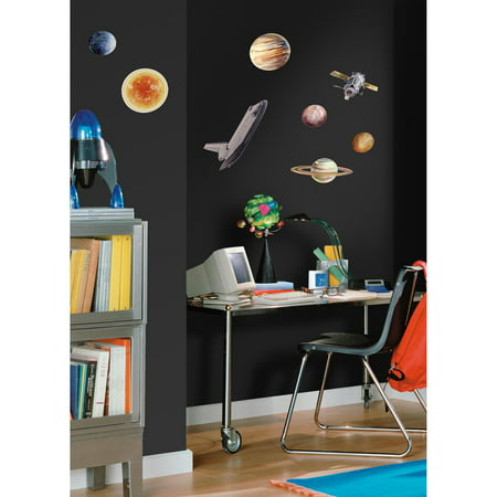 Roommates space travel peel and stick wall decals for Peel and stick wallpaper walmart