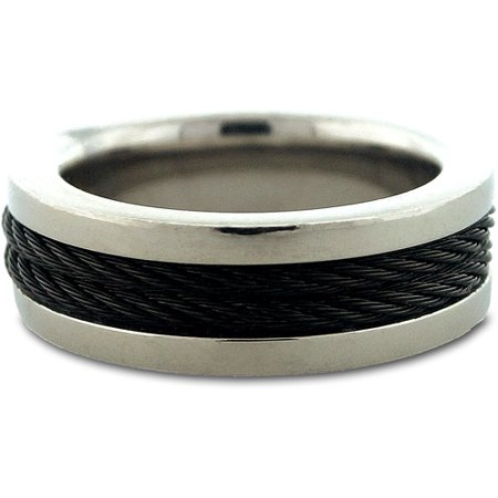 mens stainless steel rubber band ring