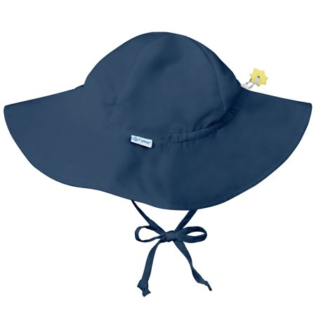 Iplay Brim Sun Hat for Baby Boys Sun Protection Wide Brimmed Hat- Solid Navy Blue-Newborn 0-6 Months Baby Boy Hat Is Adjustable To Fit Outdoor Hat With Chin Strap; Pool Beach Floppy Fisherman Swim