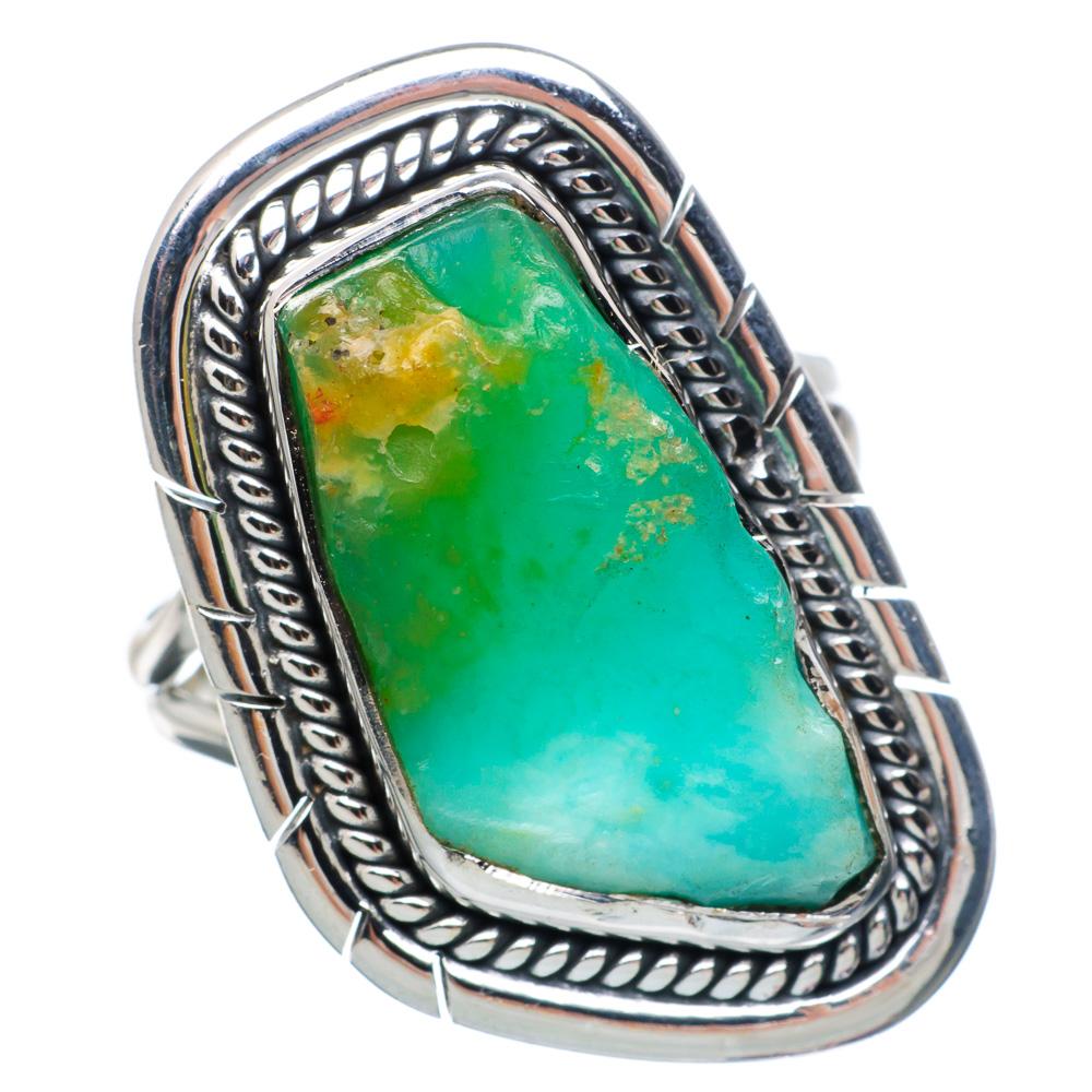 Ana Silver Co Rough Chrysoprase Ring Size 7.25 (925 Sterling Silver) Handmade Jewelry RING890549 by Ana Silver Co.