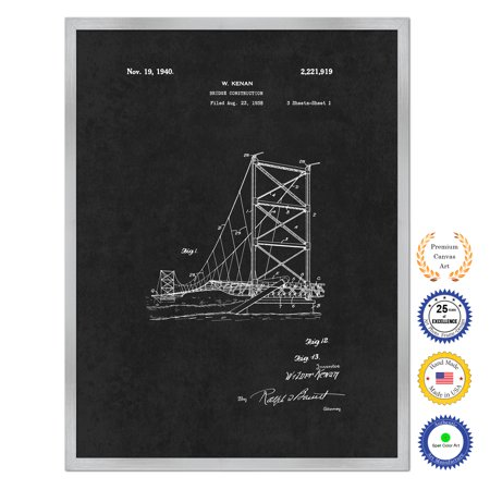 1940 Bridge Construction Antique Patent Artwork Wall Art Silver Framed Canvas Print Home Office Decor Great Gift For Engineers Architects