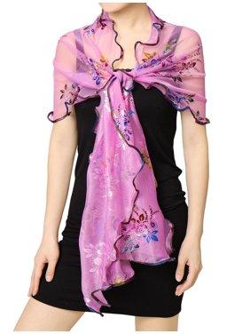 Women's Floral Prints Mesh Shiny Semi Sheer Long Scarf