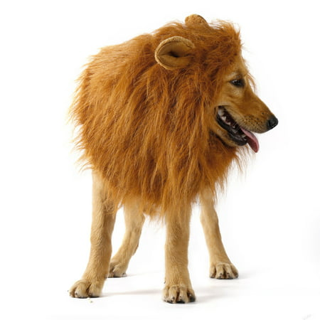 YOUTHINK Lion Mane for Dog Large Medium with Ears Pet Lion Mane Costume Button Adjustable Holiday Photo Shoots Party Festival Occasion Light Brown - Onesie Dog Costume