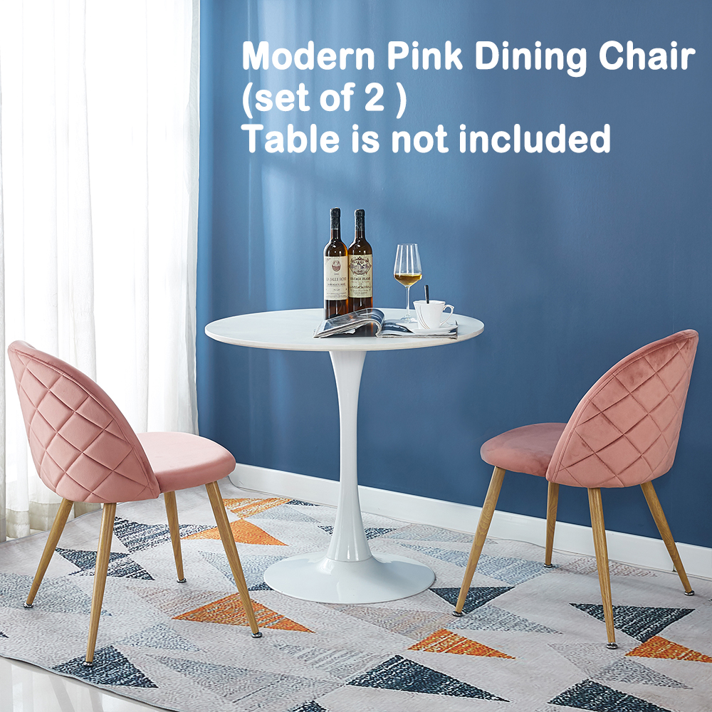 Pink Velvet Chair Set of 4 Dining Living Room Home Space Saving Furniture