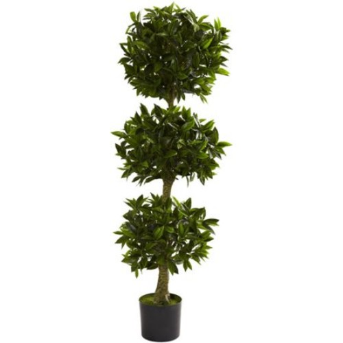 Nearly Natural 5' Triple Bay Leaf Topiary, UV Resistant, Indoor and Outdoor
