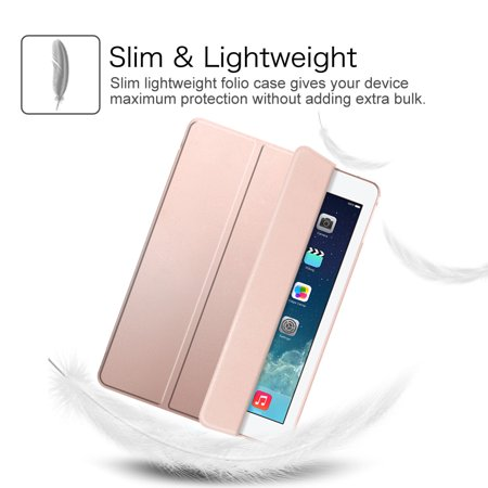 Etui Fintie pour iPad mini 3 / iPad mini 2 / iPad mini - Coque transparente translucide givrée, Or rose - image 4 de 7