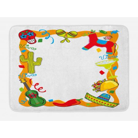 Fiesta Bath Mat, Cartoon Drawing Style Mexican Pinata Taco Chili Pepper Sugar Skull Pattern Guitar, Non-Slip Plush Mat Bathroom Kitchen Laundry Room Decor, 29.5 X 17.5 Inches, Multicolor, Ambesonne