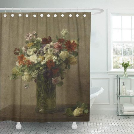PKNMT Flowers From Normandy Henri Fantin Latour 1887 French Impressionist Painting Oil Bathroom Shower Curtain 66x72 inch