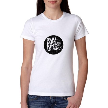 Real Men Are Kind To Animals Classic Circle Women's Cotton T-Shirt