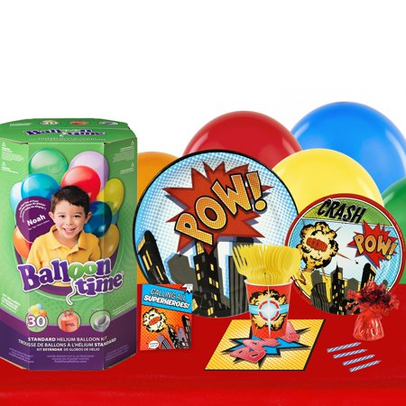 Superhero Comics 16 Guest Party Pack and Helium Kit - Helium Container