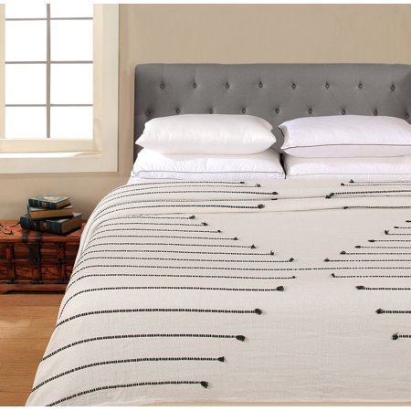 Wolf Cotton Blanket (Better Homes & Gardens 100% Cotton Blanket - 3D Stripe Black Full/Queen )