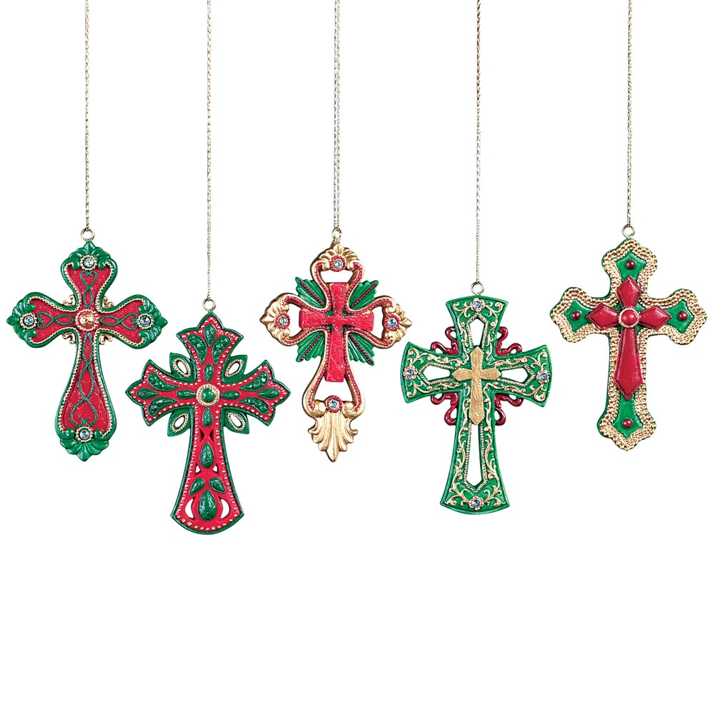 Colorful Cross Christmas Tree Ornaments Set of 5