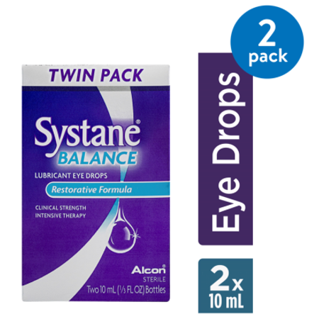 Pet Vision Eye Drops - (2 Pack) Systane Balance Lubricant Eye Drops Restorative Formula TWIN - 2 CT