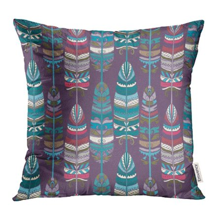 ARHOME Colorful Ethno Birds Feathers Tribal Animal Boho Vintage Design Navajo Pillowcase Cushion Cases 20x20 inch
