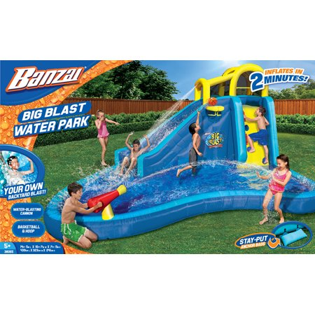 Banzai Big Blast Water Park Inflatable Slide Lagoon Splash Pool Basketball Hoop