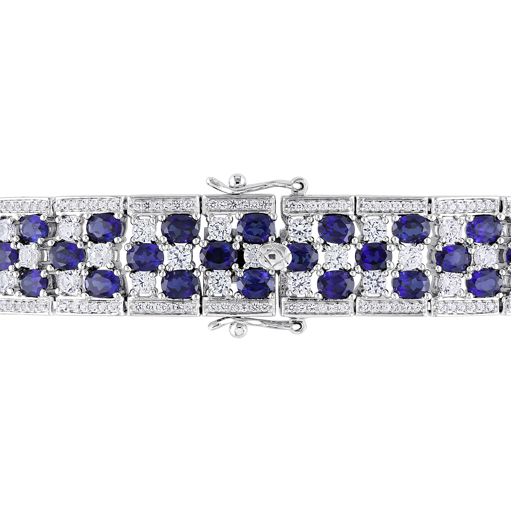 26-1/5 Carat T.G.W. Created Blue and White Sapphire Sterling Silver Fashion Bracelet, 7.25""